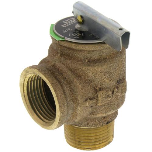 "3/4"" MNPT x 3/4"" FNPT RVW10 972,000 BTU Hot Water Relief Valve, 75 PSIG (Brass Finish) Product Image"