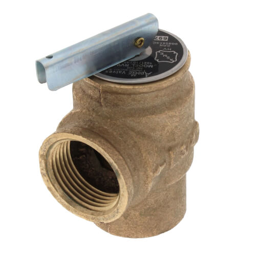 "3/4"" FNPT x 3/4"" FNPT RVW10 697,000 BTU Hot Water Relief Valve, 50 PSIG (Brass Finish) Product Image"