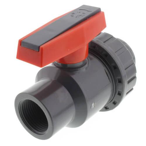 "1"" Gray PVC Single Union Ball Valve (Threaded) Product Image"