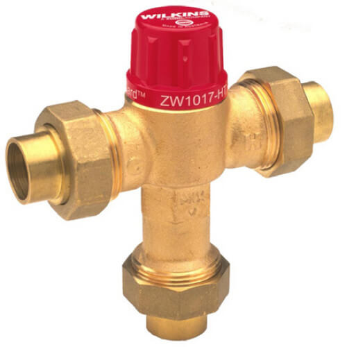 "1/2"" Thermostatic Mixing Valve 95 to 131°F (Union Sweat) Product Image"