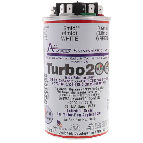 2.5 - 67.5 MFD Turbo 200 Universal Capacitor (370/440V) Product Image