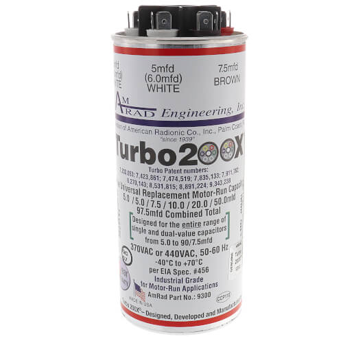 5 - 97.5 MFD Turbo 200 X Universal Capacitor (370/440V) Product Image