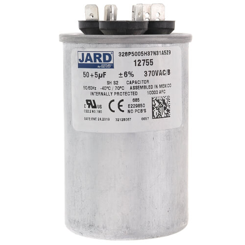 50/5 MFD Round Run Capacitor (370V) Product Image