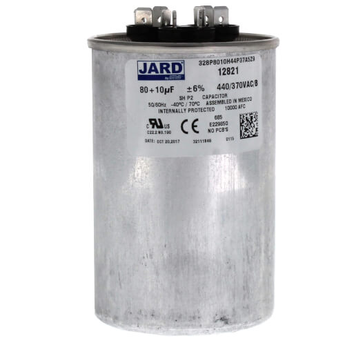 80/10 MFD Round Run Capacitor (440V) Product Image