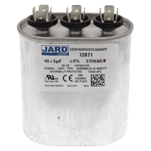 40/5 MFD Oval Run Capacitor (370V) Product Image