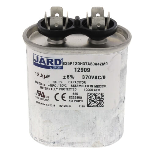 12.5 MFD Oval Run Capacitor (370V) Product Image