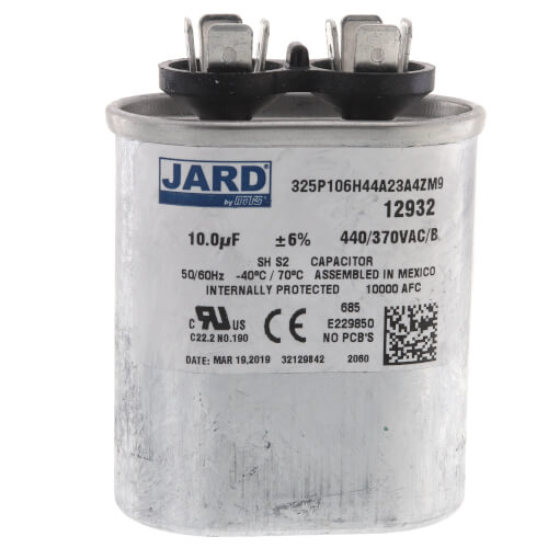 10 MFD Oval Run Capacitor (440V) Product Image