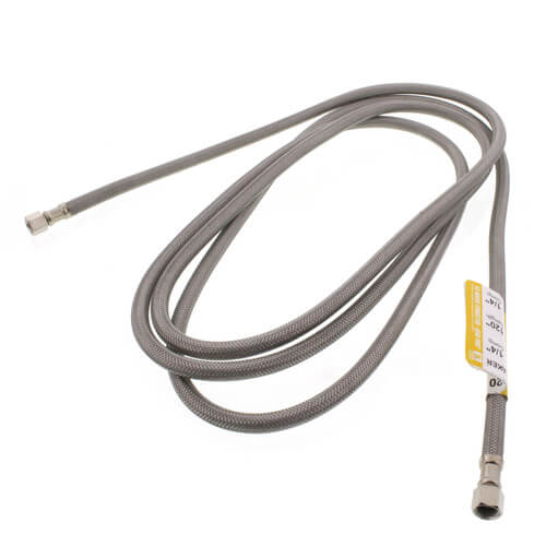 """120"""" Ice Maker Braided Stainless Steel Hose Connector (1/4"""" x 1/4"""" Compression Thread) Product Image"""