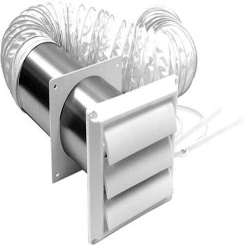 "4"" x 5 Ft. Vinyl Duct White Louvered Vent Kit Product Image"