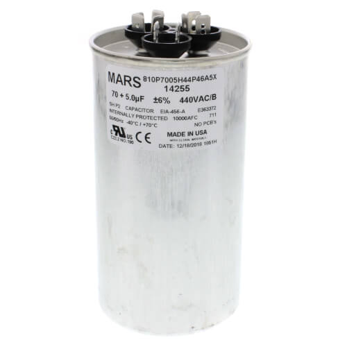 Mars 12255 Motor Run Capacitors 70//5 X 440V ROUND