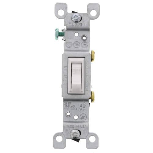 Single-Pole Grounding Toggle Light Switch - White (120V) Product Image