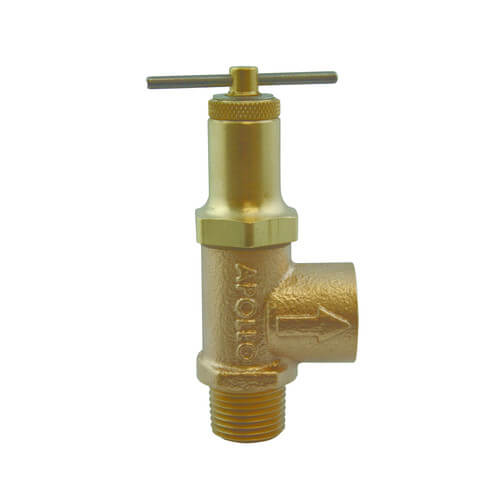 "1/2"" MNPT x 1/2"" FNPT Bronze Adjustable Relief Valve w/ Nitrile Disc & Seat (50-250 psi) Product Image"