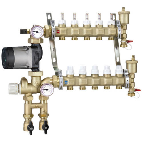 Fixed Point Manifold Mixing Station w/ Alpha 25-55U Pump (7 Outlets) Product Image