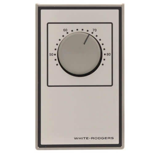 Beige Line Voltage Wall Thermostat, SPST, Open On Rise (No Thermometer) Product Image