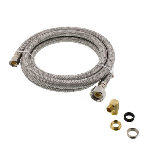 "72"" Braided Stainless Steel Fits-All Dishwasher Connector w/ MIP Elbow & Adapters (3/8"" x 1/2"" Compression Thread)  Product Image"