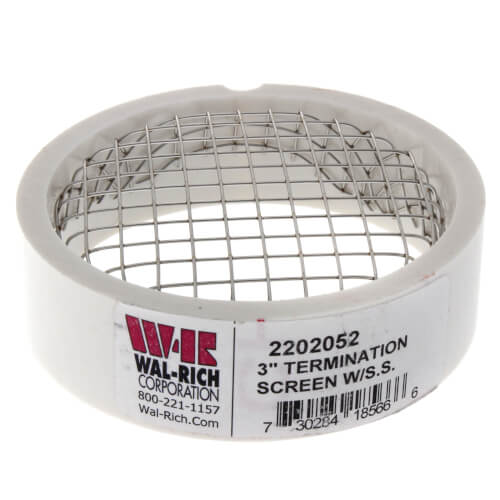 """3"""" PVC Termination Vent w/ SS Screen Product Image"""