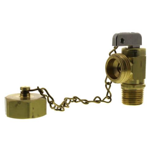 "1/2"" Female Solder or 1/2"" MIP x Male Hose, Angle Hose & Boiler Drain Valve w/ Cap & Chain Product Image"