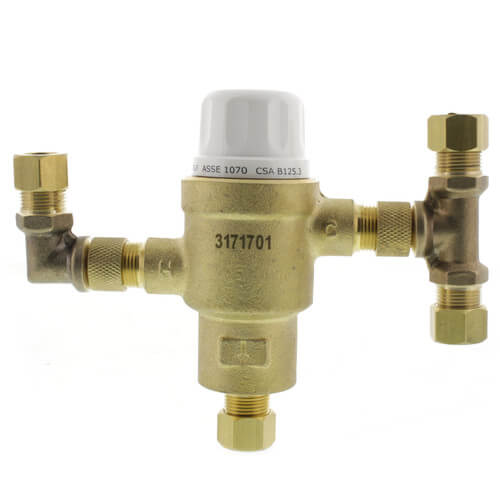 """HG145, 3/8"""" Compression Thermostatic Mixing Valve, w/ Tee & Elbow (Lead Free) Product Image"""