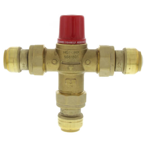 """HG110-HX , 3/4"""" Heatguard Thermostatic Mixing Valve w/ Sharkbite Connectors and Integral Checks (Lead Free) Product Image"""