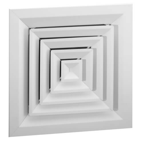 """24"""" x 24"""" (Wall Opening Size) White Steel Louvered Ceiling Diffuser, Flat Margin (SRE2 Series) Product Image"""