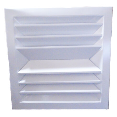 """9"""" x 9"""" (Wall Opening Size) White Steel Louvered Ceiling Diffuser, Flat Margin (SRE2 Series) Product Image"""
