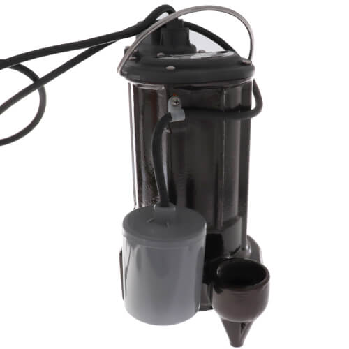 1/2 HP Automatic Effluent Pump w/ Wide-Angle Piggyback Float Switch - 115v, 10 ft Cord Product Image