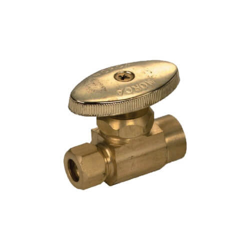 """1/2"""" Sweat x 3/8"""" OD Compression Straight Supply Stop, Lead Free (Rough Brass) Product Image"""
