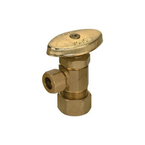 "5/8"" OD Compression x 3/8"" OD Compression Angle Stop, Lead Free (Rough Brass) Product Image"