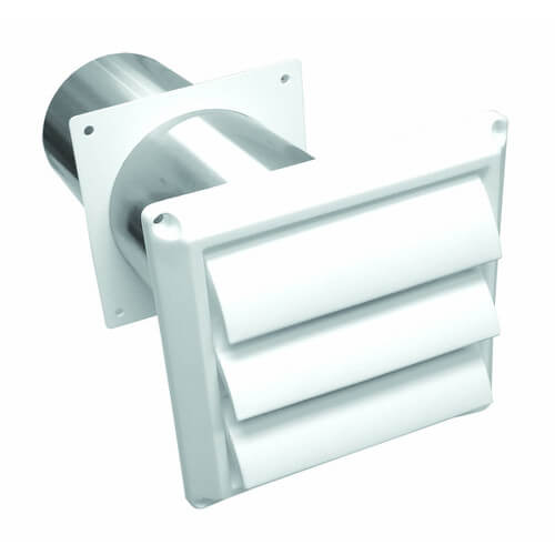 """4"""" Brown Plastic Louvered Replacement Wall Vent w/ Tail Pipe Product Image"""
