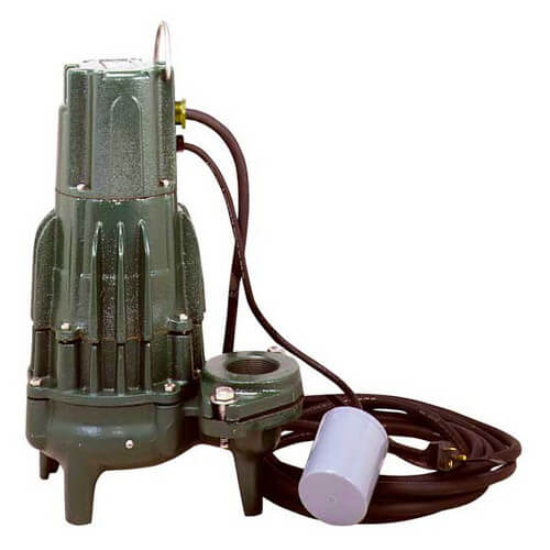 "WD295 High Head Waste-Mate Auto Cast Iron Sewage Pump w/ Wired Float Switch and 3"" Discharge - 230 V, 2 HP (Single Seal) Product Image"