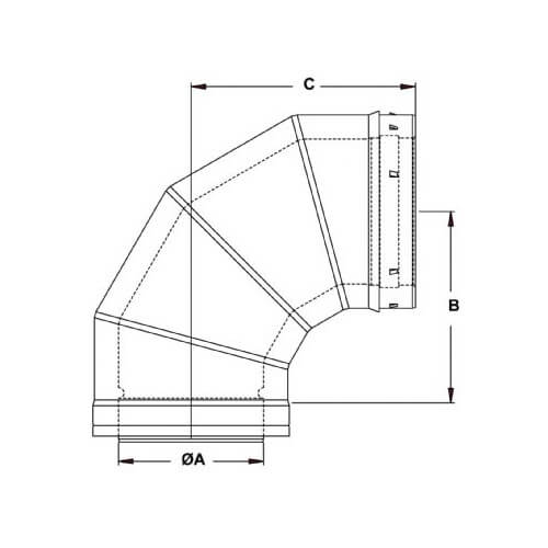 """3"""" x 90° Z-Vent Double Wall Elbow Product Image"""