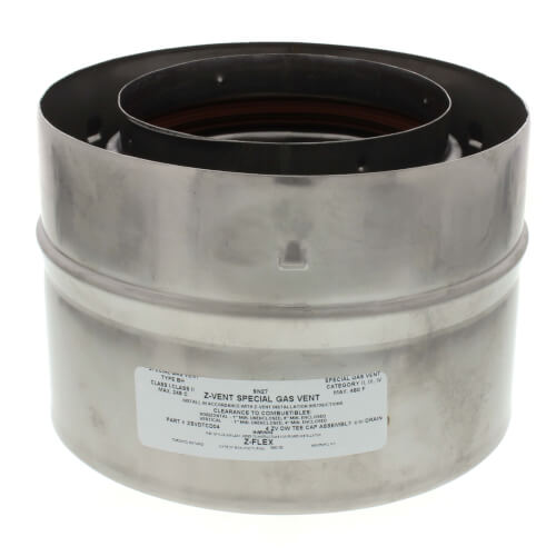 """4"""" Z-Vent Double Wall Tee Cap with Drain Product Image"""