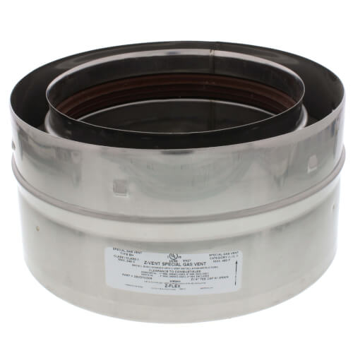 """6"""" Z-Vent Double Wall Tee Cap with Drain Product Image"""