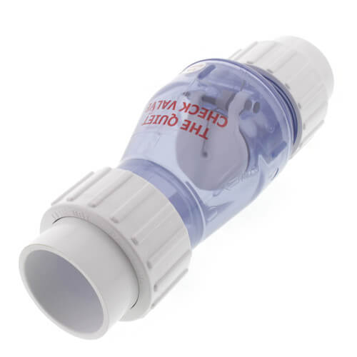 """1-1/2"""" PVC """"Quiet Check"""" Solvent Weld w/ Union Check Valve (Clear Valve Body) Product Image"""