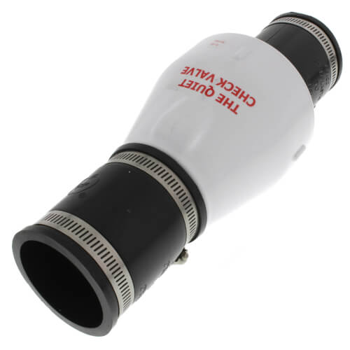"""2"""" PVC """"Quiet Check"""" Solvent Weld w/ Hose Clamp (White Valve Body) Product Image"""