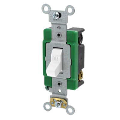 Double-Pole, Specification Grade Toggle Switch, 30A - White (120/277V) Product Image
