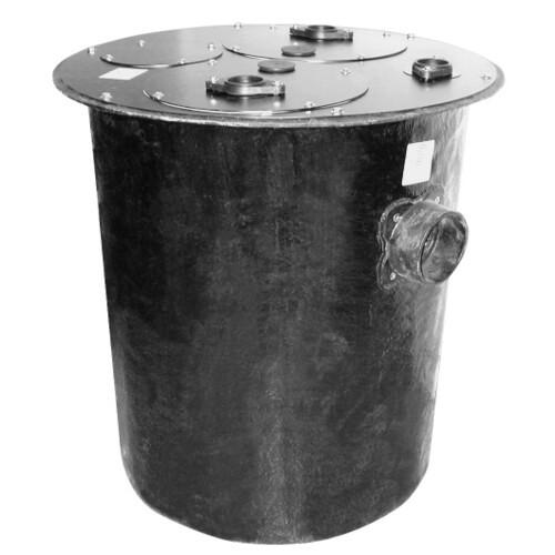 "36"" Duplex Polyethylene Basin w/ 4"" Cast Iron Inlet Hub & Steel Cover Product Image"
