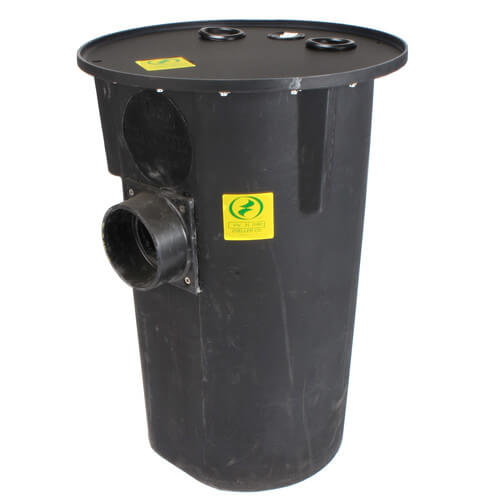 """18"""" x 30"""" Simplex Polyethylene Basin w/ 4"""" Fiberglass Inlet Hub, 2"""" Vent & Discharge, & Solid Steel Cover Product Image"""