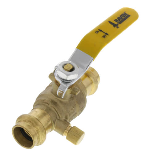 RAVEN 3/4 PRO-PRESS BALL VALVE WITH WASTE BLEEDER DRAIN. LEAD