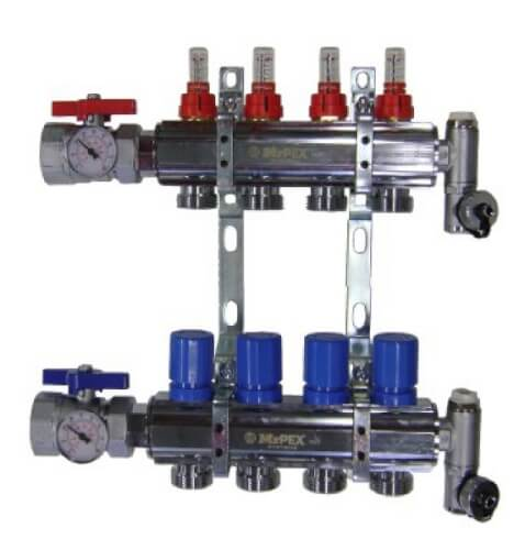 """2 Loop 1-1/2"""" Chrome Plated Brass Manifold w/ Flowmeter & Ball Valve (Fully Assembled) Product Image"""