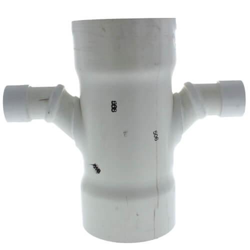 "6"" x 2"" PVC DWV Double Sanitary Tee Product Image"