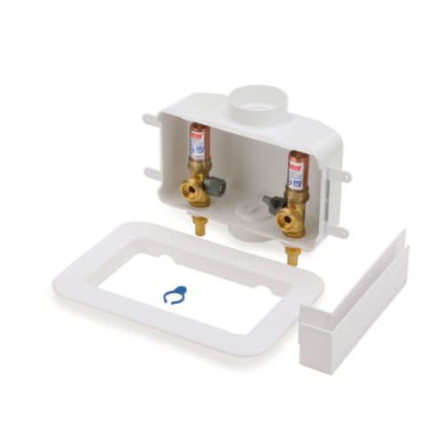 Centro II PEX Crimp Assembled Washing Machine Outlet Box w/ Water Hammer Arrestor, 1/4 Turn (Standard Pack) Product Image