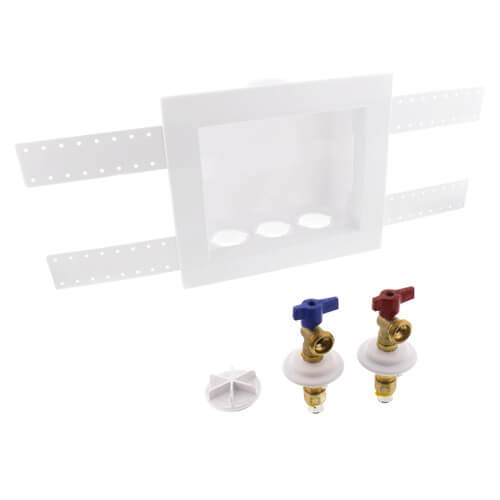 "QUADTRO Unassembled Washing Machine Outlet Box w/ 1/4"" Turn (1/2"" PEX Press) Product Image"
