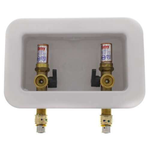 "Centro II Washing Machine Outlet Box w/ 1/4 Turn, w/ Water Hammer Arrestor (1/2"" PEX Press) Product Image"