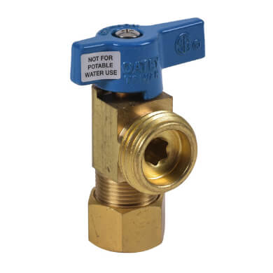 1/4 Turn Short Brass Ball Valve for Washing Machine Outlet Box, w/ UNS Blue Nut (Compression) Product Image