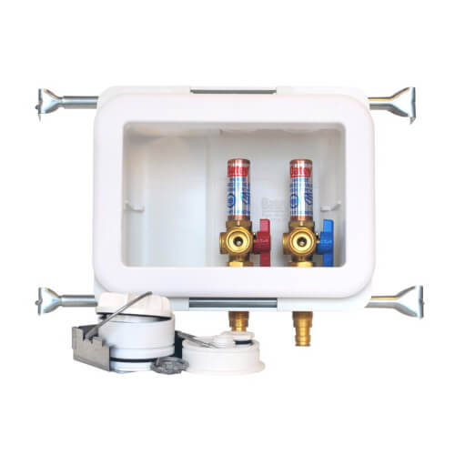 Fire Rated Expansion PEX Washing Machine Outlet Box w/ Water Hammer Arrestor, 1/4 Turn Brass Ball Valve (Standard Pack) Product Image