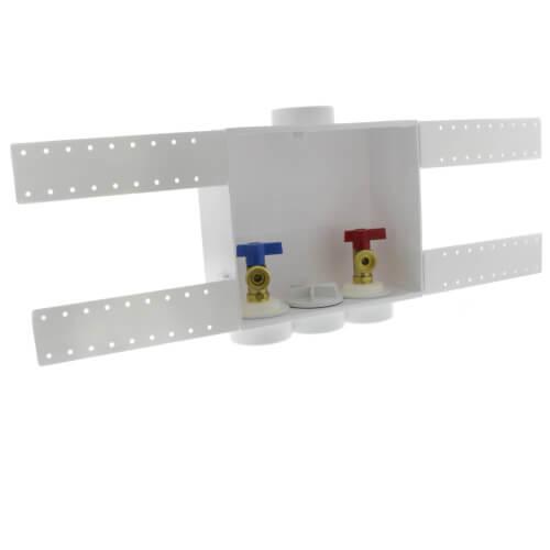 QUADTRO Washing Machine Outlet Box 1/4 Turn Brass Ball Valves (CPVC) Product Image