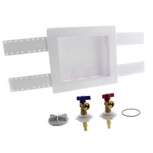"QUADTRO Washing Machine Outlet Box w/ 1/4 Turn Brass Ball Valves (1/2"" PEX Crimp) Product Image"