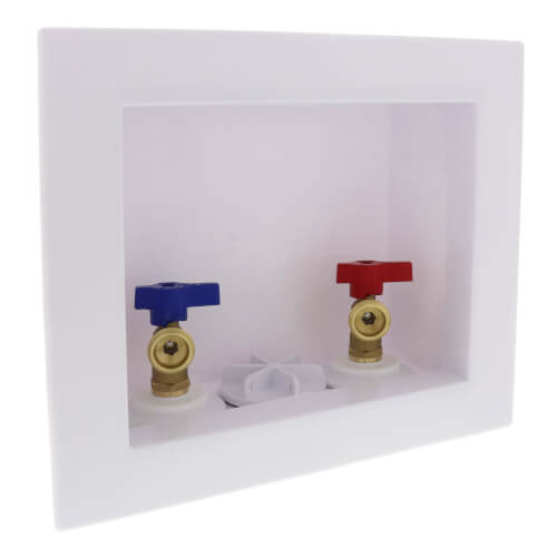 """2"""" QUADTRO Expansion PEX Washing Machine Outlet Box with 1/4 Turn Valve Product Image"""