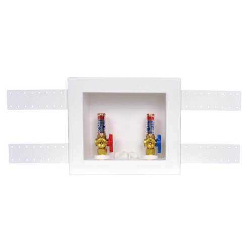 QUADTRO CPVC Washing Machine Outlet Box w/ 1/4 Turn Brass Hammer Ball Valve (Standard Pack) Product Image